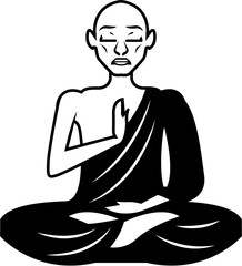 Black and White Meditating Monk Vector