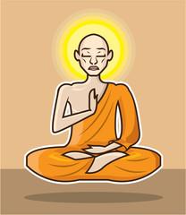 Meditating floating Monk vector Art