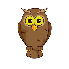 Cute litte owl isolated on white background. Vector graphics.