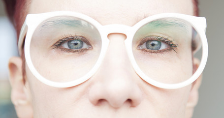 closeup of woman with eyeglasses