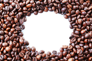 Coffee beans frame with white circle in centre