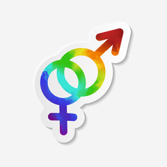 Gender identity icon. Hetero symbol. Sticker with watercolor effect. Vector illustration.
