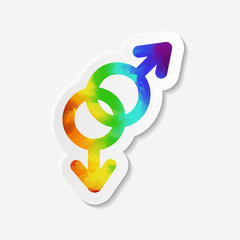 Gender identity icon. Gay symbol. Sticker with watercolor effect. Vector illustration.
