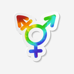 Gender identity icon. Intersex or transgender symbol. Sticker with watercolor effect. Vector illustration.