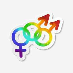 Gender identity icon. Bisexual symbol. Sticker with watercolor effect. Vector illustration.
