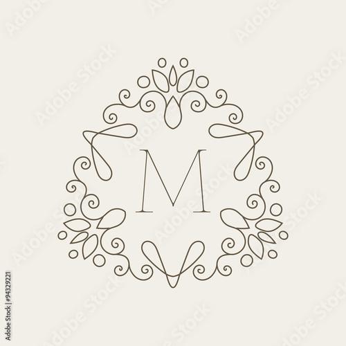 Elegant Floral Design Template With Letter M Monogram Identity Business Sign Logo