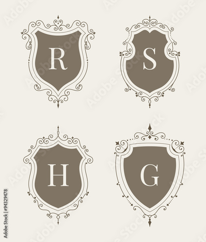 Set of luxury premium stylish templates in the form of a decorative set of luxury premium stylish templates in the form of a decorative medieval heraldic shields stopboris