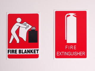Fire Blanket and extinguisher location signs in an industrial environment, Melbourne 2015