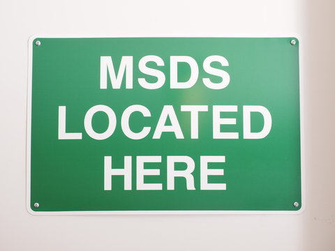 Material Safety Data Sheet MSDS location sign in an industrial environment, Melbourne 2015