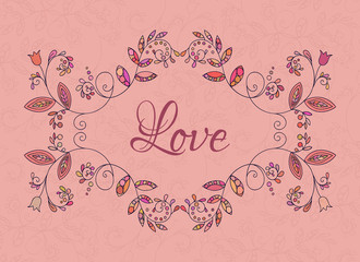 Romantic floral frame on pink background. Template for card and banner design.