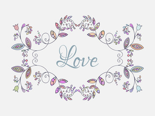 Romantic floral frame. Template for card and banner design.
