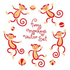 Funny monkeys vector isolated set of illustrations. Lovely