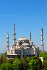 Sultan Ahmed Mosque (Blue mosque) in Istanbul in the sunny summer day, Turkey