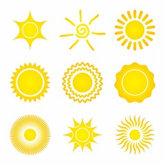 Set of Sun Icons on a white background.
