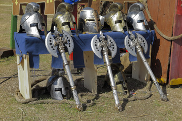 helmets and axes
