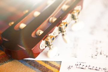 guitar with notes