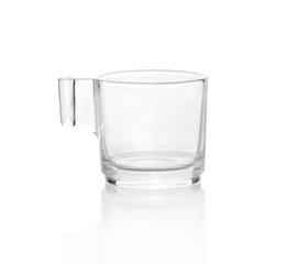 Empty glass coffee latte cup isolated on white background