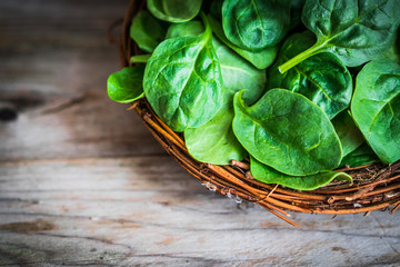 Wall Mural - Fresh spinach on rustic wooden background