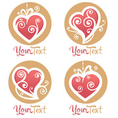 vector collection of heart,  love logo, concept, labels and form