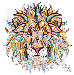 Patterned head of the lion on the grunge background. African / indian / totem / tattoo design. It may be used for design of a t-shirt, bag, postcard, a poster and so on.