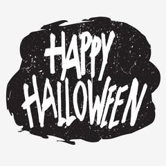 Happy halloween. Handwritten phrase. Grunge texture