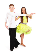 Boy and girl dancing ballet
