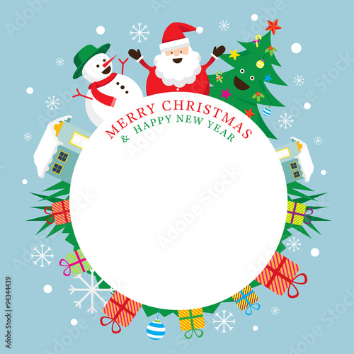 Santa Claus, Snowman, Tree, Frame, Characters, Merry Christmas And Happy New