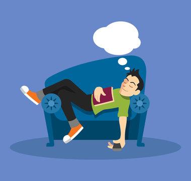 Man sleep on sofa. Vector flat illustration