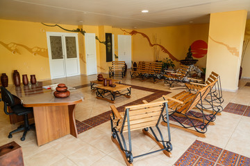 Cayo Coco island, Cuba Sep 2, 2015, view of beautiful cozy stylish inviting spa registration room with fashionable styled chairs and other furniture standing on pretty ceramic floor