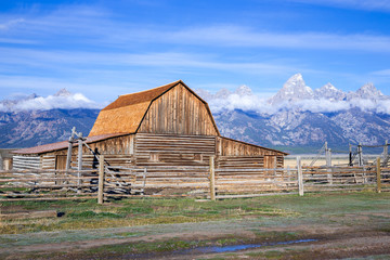 Old barn and Grand Teton mountains
