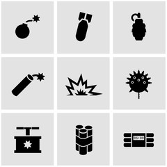 Vector black bomb icon set