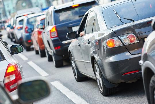 Urban traffic jam in a city street road