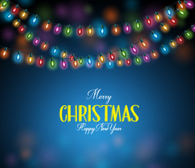 Merry Christmas Greetings with Realistic 3D Colorful Christmas Lights Hanging in Dark Night Background. Vector Illustration