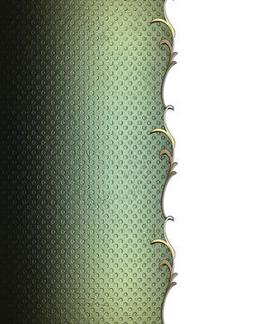 Green texture with gold pattern on the edge. Element for design. Template for design. copy space for ad brochure or announcement invitation, abstract background