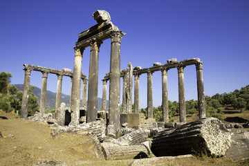 Columns of Zeus at Euromos was an ancient city in Caria Anatolia Turkey