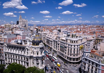 View of the Gran Via of Madrid (Spain)