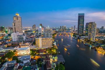 Bangkok city skyline and Chao Phraya river - Thailand