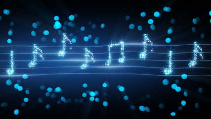 musical notes from fireworks