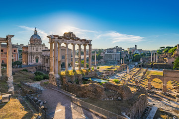 Printed roller blinds Central Europe Sunrise at Roman Forum and Colosseum - Rome - Italy