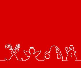 Weihnachtskarte Elch Engel Weihnachtsmann