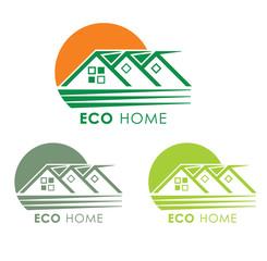 Eco home. Eco cottage village icon.