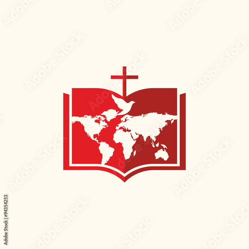 Church logo bible cross dove and world map stock image and church logo bible cross dove and world map altavistaventures Images