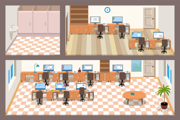 A isometric vector two-story office
