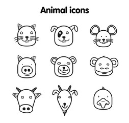 Hand drawn animal illustration - vector icons
