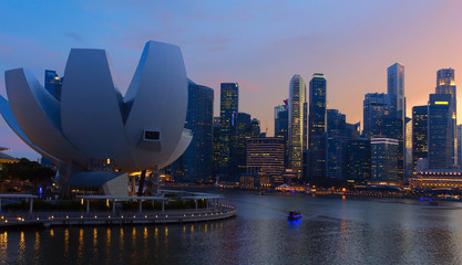 View of city Singapore at sunset