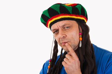 A crazy man with dreadlocks wig-isolated
