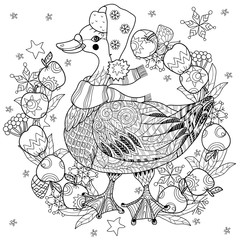 Christmas goose in funny hat doodle