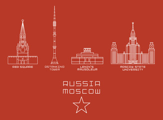 Russia Moscow city thin line icon set -Red Square, Ostankino Tower, Lenin's Mausoleum, State University