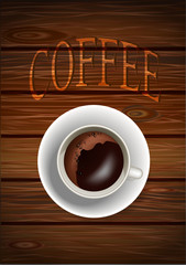 cup of coffee on wood background. Vector illustration