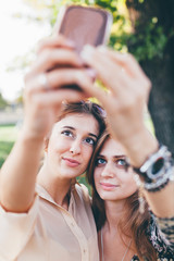 Gorgeous girls making selfie